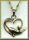 14K white or yellow gold cat in heart pendant or charm