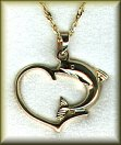 14K white or yellow gold dolphin in heart pendant or charm