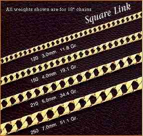 14K GOLD SQUARE LINK CHAINS AND BRACELETS